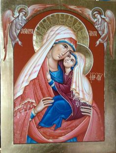 Icon of St. Anna and Blessed Virgin Mary. Religious Images, Religious Art, Religious Icons, Catholic Art, Byzantine Icons, Byzantine Art, Ste Anne, Jesus Christ Images, Christian Artwork