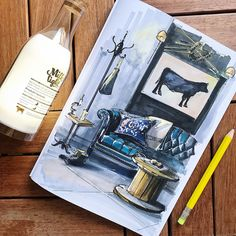 Interior Design For Bathroom Interior Design Sketches, Interior Rendering, Bathroom Interior Design, Living Room Interior, Interior Livingroom, Cafe Interior, Copic Marker Art, Sketch Markers, Marker Drawings