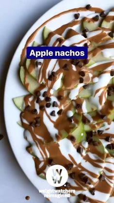 """Turn extra apples into an even sweeter treat with WW-friendly apple """"nachos""""! Ww Recipes, Apple Recipes, Snack Recipes, Dessert Recipes, Cooking Recipes, Healthy Desserts, Delicious Desserts, Ww Desserts, Sweets"""