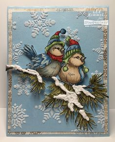 (th)INK Positive: Brrr, Birrrdy! Stampendous Winter Birds and Dreamweaver Snowflakes Stencil Possibly the prettiest card I've ever created! I love these sweet little Winter Birds perched amongst the snowflakes! Stamped Christmas Cards, Christmas Card Crafts, Christmas Tag, Xmas Cards, Handmade Christmas, Holiday Cards, Winter Karten, Bird Cards, Winter Cards