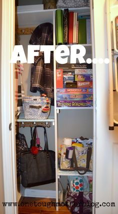 Coat Closet Makeover to maximize storage and stay organized!