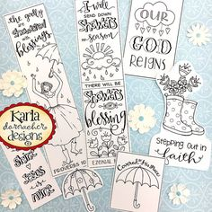 Showers Of Blessing Color Your Own Bookmarks Bible Journaling Tags Tracers INSTANT DOWNLOAD Scripture Digital Printable Christian