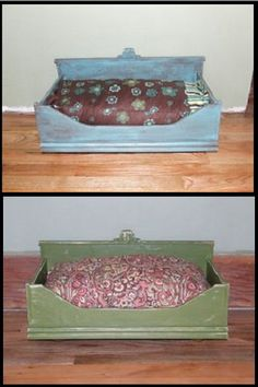 Make dresser drawer dog beds. No tutorial here, just a great idea.