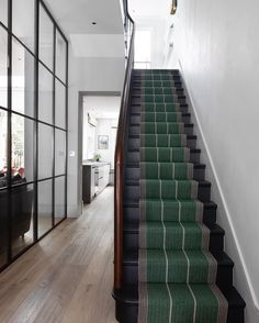 creating an entryway Deck Stair Lights, Crittal Doors, Flooring For Stairs, Basement Stairs, Painted Staircases, Hallway Inspiration, Hallway Ideas, Wooden Stairs, Interior Stairs