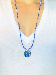Blue Swirl Beaded Pendant Necklace by InstinctBoutique on Etsy