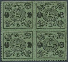 Old German States Brunswick, Michel 10 B. 1861 / 65: œ Gr. black / bright gray green, with on all sides complete, arcuate trail rouletted 16, block of four with nearly mint never hinged original gum (only small affixed spots) . An extraordinarily scarce and attractive unit, photo expertize Lange.