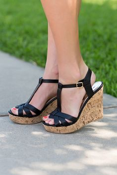 Step Up Your Game Wedge-Black. black wedge, cork wedge, strappy wedge, wedge sandal. by Jane Divine Boutique www.janedivine.com