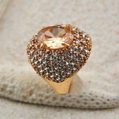 $7.38 Gorgeous Diamante Light-Colored Faux Gemstone Embellished Alloy Ring For Women