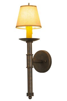 5.5 Inch W Amada W/Fabric Shade Wall Sconce - 5.5 Inch W Amada W/Fabric Shade Wall Sconce Theme: LODGE FABRIC Product Family: Amada Product Type: WALL SCONCES Product Application: ONE LIGHT Color: GILDED TOBACCO Bulb Type: CNDL Bulb Quantity: 1 Bulb Wattage: 40 Product Dimensions: 20H x 5.5W x 7.5DPackage Dimensions: NABoxed Weight: 3 lbsDim Weight: 24 lbsOversized Shipping Reference: NAIMPORTANT NOTE: Every Meyda Tiffany item is a unique handcrafted work of art. Natural variations in the…