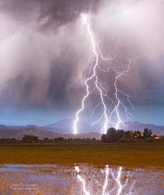 Lightning Striking Longs Peak Foothills, Colorado