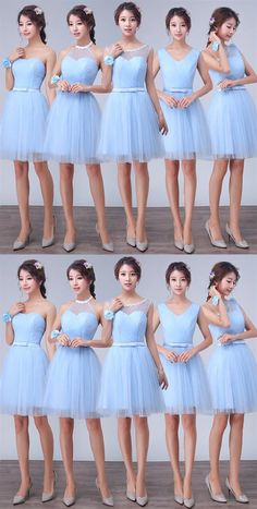 Blue Sweetheart Sleeveless A Line Tulle Short Bridesmaid Dresses Mini Dresses – Bridesmaid Ideas Blue Bridesmaid Dresses Short, Bridesmaid Outfit, Wedding Bridesmaid Dresses, Bridesmaid Ideas, Bridesmaids, Inexpensive Wedding Dresses, Affordable Bridesmaid Dresses, Prom Dresses Online, Cheap Prom Dresses