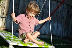 Platform swing toturial from Reese Dixon. Sturdy swing uses a steel pipe frame, making it ideal for indoor or outdoor use. Pinned by SPD Blogger Network. For more sensory-related pins, see http://pinterest.com/spdbn