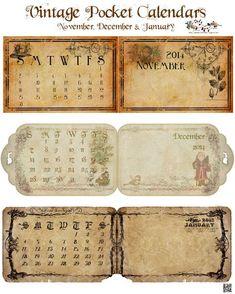 glenda's World : Vintage Three Months Folding Pocket Calendars Junk Journal, Journal Paper, Journal Cards, Vintage Labels, Vintage Ephemera, Vintage Cards, Printable Vintage, Vintage Diy, Kalender Design