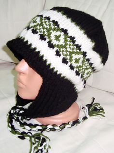 Hand Knit Men's Hat the Ear Flap Man Hat in Black by earflaphats, $40.00
