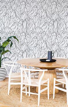 Mount Black modern removable wallpaper, stylish black&white home decor Black And White Interior, White Interior Design, Interior Design Magazine, Interior Decorating, Black White, Bold Wallpaper, Modern Wallpaper, Wallpaper Ideas, White Wall Decor