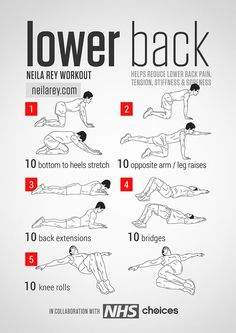 Why You Could Be Experiencing Back Pain Lower Back Workout Helps reduce lower back pain, tension, stiffness & soreness. Neila Rey Lower Back Workout Helps reduce lower back pain, tension, stiffness & soreness. Neila Rey Workout, Workout Fitness, Easy Fitness, Fitness For Men, Fitness Goals, Yoga Fitness, I Work Out, Excercise, At Home Workouts