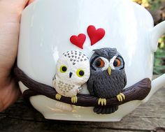 Love owls mug - handmade mugs - custom mug - personalized mugs - cute mugs - coffee mugs - ceramic - summer gift - unique design mugs