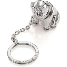 dunhill Bulldog Key Ring ($175) ❤ liked on Polyvore featuring men's fashion, men's accessories, men's key rings, mens leather accessories, mens key ring, mens leather key chains and mens key chains