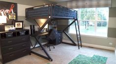 Love this idea of a child's bunkbed with student desk area....makes room area larger.