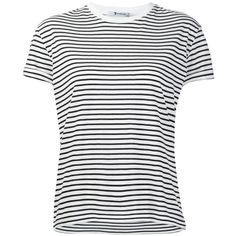 T By Alexander Wang Striped T-Shirt ($115) ❤ liked on Polyvore featuring tops, t-shirts, shirts, stripe t shirt, tee-shirt, t shirt, ribbed t shirt and striped shirt