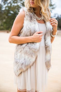 Ally Two Tone Faux Fur Vest – Morning Lavender