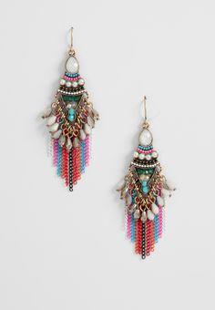 beaded and multicolor chain fringe swing earrings