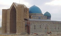 Kazakhstan - mausoleum of Khoja Ahmed Yasawi, the 12th-century head of a regional school of Sufism, a mystic movement in Islam which began in the 9th century - he still revered today by kazakh sufis, who make pilgrimages here