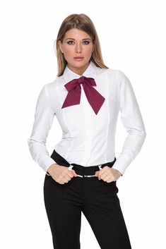 Work Outfit Whit Dress Pants White Shirt And Cute Bow