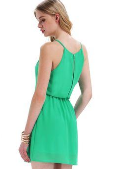 Green Off the Shoulder Back Split Dress - Sheinside.com