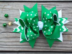 St. Patricks Day Hair Bow Green and White by ransomletterhandmade, $10.00