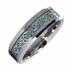 Unisex or Women's Tungsten Carbide Wedding Ring Band. Silver Celtic Knot Ring with Green and Silver Resin Inlay. Celtic Wedding Bands, Womens Wedding Bands, Wedding Ring Bands, Viking Wedding, Tungsten Mens Rings, Tungsten Wedding Bands, Tungsten Carbide, Matching Couple Rings, Celtic Knot Ring