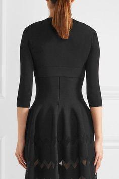 Alaïa - Cropped Stretch-knit Cardigan - Black - FR