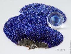 """Купить Колье """"Голубая бездна"""" - колье из бисера, авторские украшения, бисерные нити, массивное колье"""