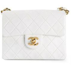 CHANEL VINTAGE mini half flap bag ($4,280) ❤ liked on Polyvore featuring bags, handbags, shoulder bags, accessories, purses, chanel, bolsas, mini purse, chain purse and white purse