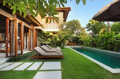 Modern design combined with open air living, large garden and pool areas creating a tropical villa environment in Bali Modern Tropical House, Tropical House Design, Tropical Houses, Bali House, Villa Design, Backyard Pool Designs, Backyard Landscaping, Balinese Villa, Koh Chang