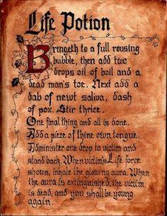 Hocus Pocus Winifred Sanderson Spell Book incantation:  Life Potion. Hocus Pocus Halloween Party Decorating &  Ideas.