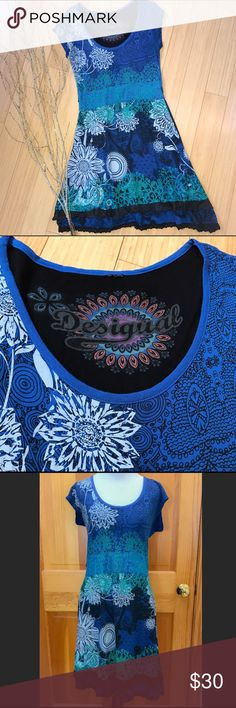 DESIGUAL colorful dress, M L. Beautiful contemporary dress by Desigual. Looks like it should best fit a medium or large, please check measurements (there is an XL on a tag in the skirt, but again I think you'd be disappointed). Bust is 18 inches, waist is 14.5 inches, length is 40 inches. Tiny thread belt loops present if you would like to add your own belt. Beautiful and fun! Desigual Dresses Midi