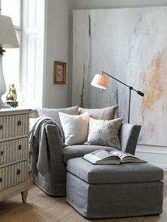 le canapé de lecture gris dans le salon avec parquette en bois