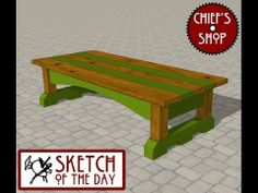 Chief's Shop Sketch of the Day: Outdoor Party Bench - YouTube