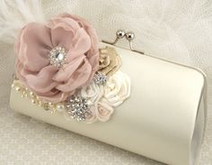 Clutch Bridal Clutch Party Clutch in Blush Pink Ivory by SolBijou