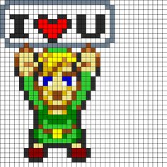 I Love Link Perler Bead Pattern | Bead Sprites | Characters Fuse Bead Patterns
