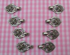 4 pairs( 8 pieces ) of decorative hooks for Dirndl or bavarian girl's dress, metal antique silver colored, rose motif, Octoberfest!