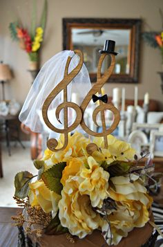Music note wedding cake topper singer musician treble clef cake topper bride and…