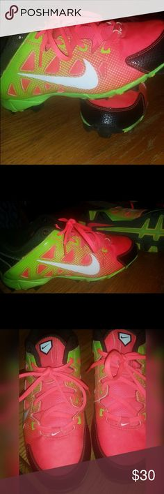 Nike Softball Cleats Only worn one season! EUC!!! Orange color fades into Lime green (pictures look pink.) Nike Shoes