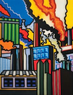 Howard Arkley, Shadow Factories, synthetic polymer paint on canvas, x cm Magnum Opus, Australian Painters, Australian Artists, Mondrian, Howard Arkley, Musica Punk, Arts Award, Indigenous Art, Urban Landscape