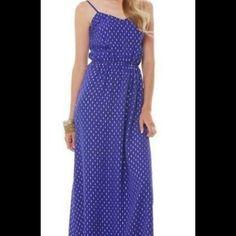 0ee1508ae5 Lilly Pulitzer Deanna Spaghetti Strap Maxi Dress in Spectrum Blue Tybee  Metallic Clip Dot