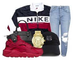 """Untitled #107"" by trillqueen34 ❤ liked on Polyvore featuring NIKE, Topshop, Pink Haley and Michael Kors"