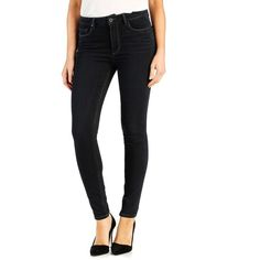 Paige 'Hoxton' High Rise Ultra Skinny Jeans ($189) ❤ liked on Polyvore featuring jeans, eris, high waisted stretch skinny jeans, high-waisted jeans, dark wash jeans, high rise jeans and stretchy skinny jeans
