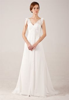 Graceful Simple V-neck Chiffon Wedding Dress with Bows On Shoulder Read More: http://weddingsred.com/index.php?r=graceful-simple-v-neck-chiffon-wedding-dress-with-bows-on-shoulder.html