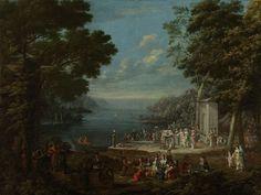 1720-37.Damesfeest in Hünkâr İskelesi aan de Bosporus.In de zomermaanden ontvluchtten welgestelden inwoners van Istanbul de benauwde stad om aan de oevers van de Bosphorus verkoeling te zoeken. De vrouwen die deel uitmaakten van het harem van de sultan en de grootvizier namens soms deel aan picknicks en waarschijnlijk heeft Vanmour een dergelijke gelegenheid willen afbeelden. Hunkiar Iskêléci was een bekende plek aan de Bosphorus waar men bijeen kwam.Rijksmuseum.Jean Baptiste Vanmour